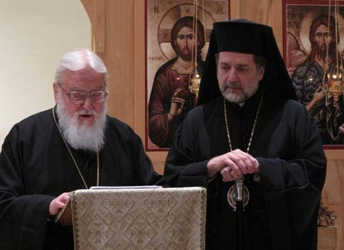 Metropolitan Kallistos (Ware) on left, with Metropolitan Nicholas of Detroit